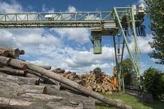 Lumber mill. With lumber yard Royalty Free Stock Image