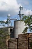 Lumber mill. With lumber yard Stock Image