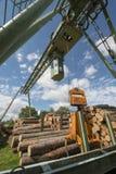Lumber mill. With lumber yard Stock Photos