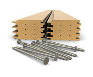 Lumber and nails - material for construction Stock Photos