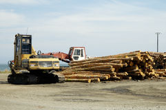 Lumber Operations. Lumber being processed at a forest products sawmill Stock Images