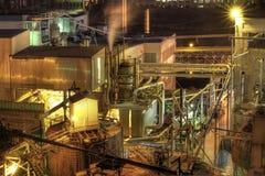 Lumber Paper Mill At Night Stock Photo