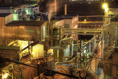 Lumber Paper Mill at Night Stock Photo