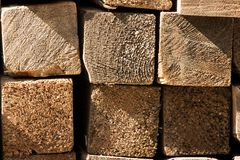 Lumber Pile Close Up. Close up of a pile of lumber from the cross section.  Building material at a construction site Stock Photography