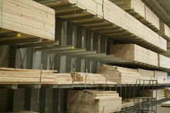 Lumber for Sale in Hardware Store Royalty Free Stock Photography