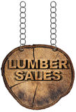 Lumber Sales Wooden Sign with Metal Chain Stock Images