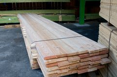 Lumber at a sawmill Stock Photo