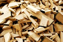 Lumber Scraps. Pile of scrap wood from a construction site Stock Images