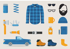 Lumber sexual Style Clothing, Tools and Accessories Vector Set Royalty Free Stock Photo