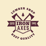Lumber shop vintage logo, badge with lumberer axes. Eps 10 file, easy to edit Royalty Free Stock Photos