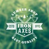 Lumber shop vintage logo, emblem with axes. Eps 10 file, easy to edit Royalty Free Stock Photography