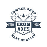 Lumber shop vintage logo, emblem, badge with axes. Lumber shop vintage logo, emblem, badge with lumberjacks axes, eps 10 file, easy to edit Royalty Free Stock Image