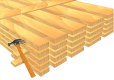 Lumber. Stack of new wooden studs on white Royalty Free Stock Image