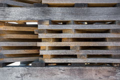 Lumber stacked in piles to dry. On the open air Stock Image