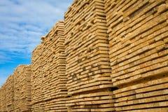 Lumber. Stacked lumber at a sawmill Royalty Free Stock Image