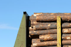 Lumber on train. Lumber industry - fresh lumber piled on a train for shipment to lumberyard Royalty Free Stock Photos