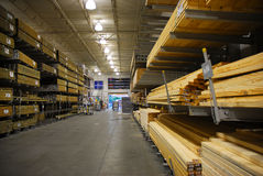Lumber Warehouse. With concrete floors Stock Photos