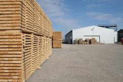 Lumber and warehouse Royalty Free Stock Photo