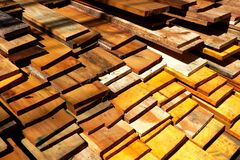 Lumber in warehouse. Stock Images