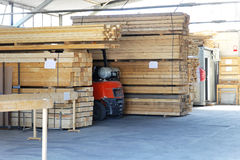 Lumber warehouse. For woodwork and construction industry Royalty Free Stock Images