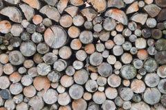 Lumber wood log stack stockpile detail pattern. Close-ip Royalty Free Stock Images