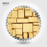 Lumber and wood slice illustration concept. Abstract creative saw. Sawmill color hd 3d web icon. Woodworking logo Stock Photo