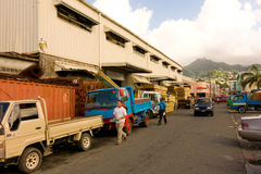 A lumber yard in the caribbean Stock Image