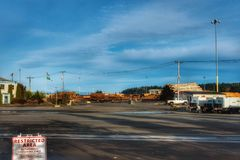 A lumber yard on a fall day Royalty Free Stock Photo