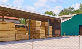 Lumber yard with piles of lumber. Stacked pallets of lumber, drying getting ready for sale Stock Images
