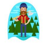 Lumberjack с дизайном оси иллюстрация вектора