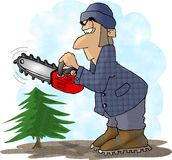 Lumberjack. This illustration that I created depicts a man with a chainsaw about to cut a very small tree Stock Images
