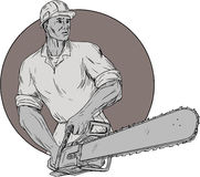 Lumberjack Arborist Holding Chainsaw Oval Drawing Stock Photo