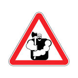 Lumberjack Attention sign. Woodcutter Caution. Road red warning Royalty Free Stock Photography