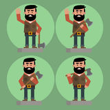 Lumberjack avatars set Stock Image