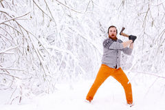 Lumberjack ax swings Royalty Free Stock Image