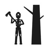 Lumberjack with an ax Vector black icon on white background. Royalty Free Stock Images