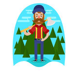 Lumberjack with axe design. Lumberjack with axe on the background of trees in a flat style. design. vector Royalty Free Stock Photography