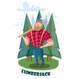 Lumberjack with axe in the forest Stock Photo