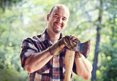 Lumberjack with axe Stock Photography