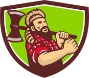 Lumberjack Axe Shield Retro Stock Images