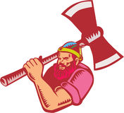 Lumberjack Axe Woodcut Stock Photos
