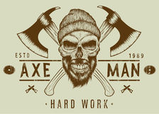 Lumberjack bearded skull in hat with two axes Royalty Free Stock Photo