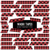 Lumberjack Buffalo Plaid Red and Black Washi Tape Vector Strips. Semitransparent  on White Unique Vector Masking Tape Pieces with Torn Edges. Trendy Hipster Royalty Free Stock Photos