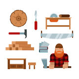 Lumberjack cartoon tools icons vector illustration Royalty Free Stock Images