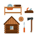 Lumberjack cartoon tools icons vector illustration Stock Photos