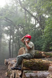 Lumberjack with cellphone Stock Photography