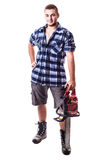 Lumberjack with chain saw Royalty Free Stock Photo