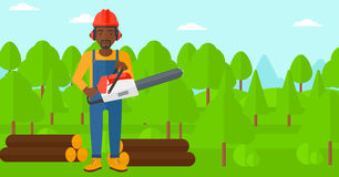 Lumberjack with chainsaw. Royalty Free Stock Image