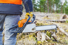 Lumberjack with chainsaw Royalty Free Stock Photography