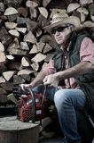 Lumberjack with chainsaw Royalty Free Stock Photos